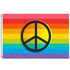 c5a4eefa92593 Retro Rainbow Flag Summer Spring Decorative Flag 4x6 Feet with Brass  Grommet Double Stitch Gay Pride Peace Love Sign Banner Garden Flag House  Decorations ...