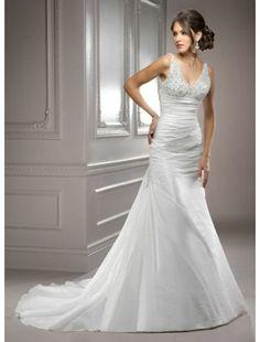 Mermaid V Neck Taffeta and Beading Destination Wedding Dress