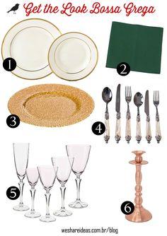 get the look mesa posta dourada, branca e verde inspirada na Grécia antiga.
