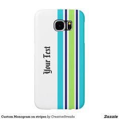 Custom Monogram on stripes Samsung Galaxy S6 Cases