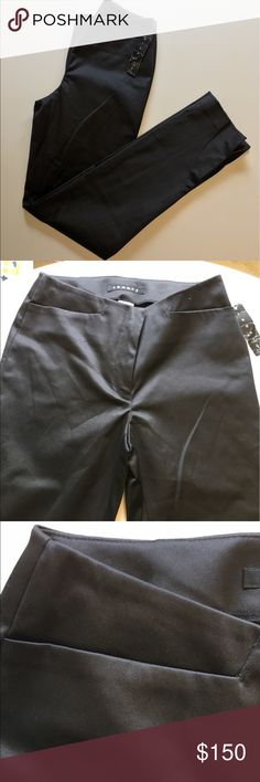 """BOGO 1/2 NWT Theory Tahari Pants NWT Jet black, 98% Cotton 2% Elastic.   Inseam 30"""".   End of pant leg as a cute slit seem in pic.   Hidden zipper, clasp and clip.   Front top pockets still sown closed.                                       (pk#48) Tahari Theory Jeans"""