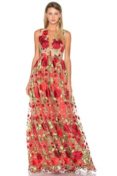 Lurelly Kate Floral Gown in Red