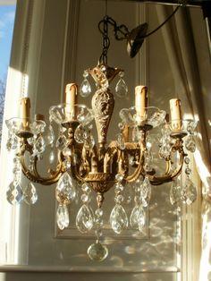Vintage French Bronze & Crystal 8LT Chandelier