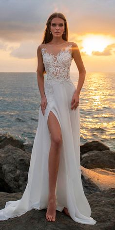 beach wedding dresses straight high slit lace illusion neckline sleeveless kuznetcova