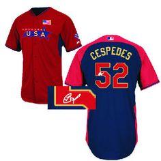 Men's Yoenis Cespedes Oakland Athletics #52 USA Authentic 2014 Future Stars All-Star BP Signature Jersey
