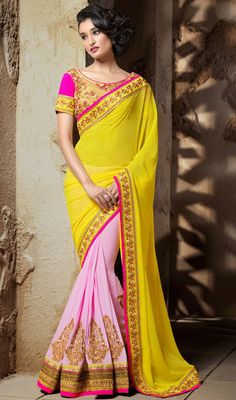 This yellow and light pink georgette half n half sari makes you to look glamorous tonight. Sari first light pink half is embellished with golden woven lace and gold kasab embroidery and that of other yellow half has silk thread embroidered border with scattered stones. Sari comes with contrast beige stitched blouse as shown in the picture. #TrendsetterSaree