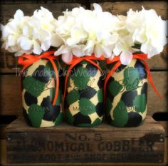 Camo Mason Jars, Camouflage vases, hand painted camo mason jars, Camo Wedding Centerpieces, Camo Baby Shower Decorations, Camouflage flowers by TheShabbyChicWedding on Etsy