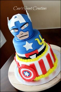 "Captain America Birthday Cake => SOURCE: @Bendrix ""Shock and Awe Sweets .ME"" Board via."