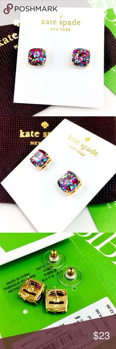 """Kate spade multi glitter mini square stud earrings NWT Kate Spade mini glitter square stud earrings,     ● Multi color glitter   ● 0.25"""" wide / 10mm   ● Retail for $32.00 + tax   ● 14K gold plated with stainless steel post,  Brand new with pouch, no gift box.  Great gift, Early shopping for Christmas!!!                Please check my store for other color and styles!! kate spade Jewelry Earrings"""