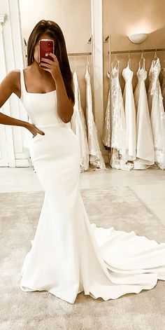 28 Lace Wedding Dresses from eleganza sposa - Oh The Wedding Day Is Coming Long Wedding Dresses, Bridal Dresses, Bridesmaid Dresses, Backless Wedding, Square Wedding Dress, Ivory Prom Dresses, Simple Wedding Gowns, Event Dresses, Dresses Dresses