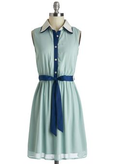 Strolling the Seashore Dress - Blue, Buttons, Belted, Casual, Shirt Dress, Sleeveless, Mid-length, Mint, Collared, Pastel