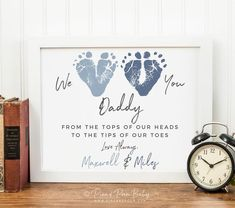 Fathers Day Gift from Twins or Siblings Gift for New Dad We Love You Baby Footprint Art Personalized with your Childs Feet UNFRAMED Diy Father's Day Gifts From Baby, Gifts For New Dads, Dad Gifts, First Fathers Day Gifts, Fathers Day Crafts, Diy For Fathers Day, Diy Father's Day Gifts For Grandpa, Sibling Gifts, Parent Gifts
