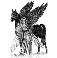 Fairy and black pegasus