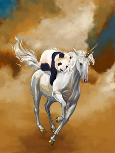 Super Buddies by Rebecca Flaum. A panda riding a unicorn. Naturally.
