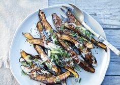 Japanese eggplants are quick-roasted in the oven, then brushed with a sweet miso sauce for an extremely tender and satisfying entrée. Veggie Recipes, Asian Recipes, Vegetarian Recipes, Cooking Recipes, Healthy Recipes, Delicious Recipes, Vegetarian Times, Food Porn, Good Food
