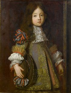 """Portrait of a Young Boy"" by the studio of Henri Gascar, circa 1680-90   Note the matching ribbon puff attached to the hat."