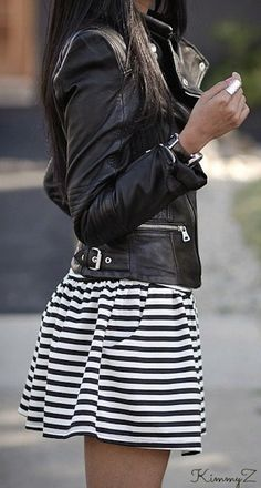 black leather jacket over black & white striped skirt. skater, edgy, hangout, weekend, spring or fall outfit.