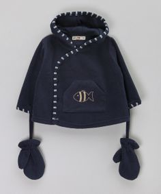 Navy Polaire Hooded Sweater with Mittens by Batela: Nautical Kidswear £12.99