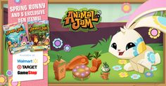 Celebrate the arrival of spring with your very own SPRING BUNNY! This amazing bunny comes with a unique flower pattern, and exclusive den items for FREE when you redeem any Animal Jam Retail Gift Card!  Visit ANIMALJAM.COM/GIFT_CARD to see where retail gift cards are available near you!