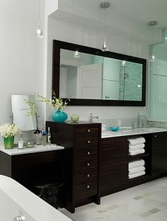 Bathroom | Sarah Richardson Design perfect vanity (double sink, make up bench + open & closed storage)
