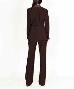 Collarless jacket with tie waist