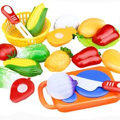 12PC /Set Plastic Kitchen toy Fruit Vegetable Cutting Kids Pretend Play Toy Educational Cook Cosplay kitchen toys #Affiliate