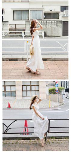 Chiffon Boho Beach Maxi Dress Sleeveless Pleated Long Sundress