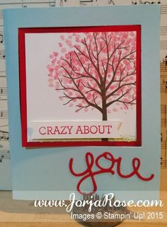 """By Kathe Oldham for """"The JorjaRose Files"""", Valentine Pop Out Swing Card, featuring Stampin' Up! stamp sets """"Crazy About You"""" and """"Sheltering Tree"""" + """"Hello You"""" Thinlits ..."""