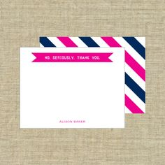 Deluxe Double Thick - No, Seriously. Thank You Note Cards