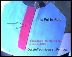 dessin Technique, montage par étapes, + une vidéo !  la vidéo de la Patte Polo en question !  le dessin technique :  coupe des coutures et j'ai ajouté qq couleurs patte en rose, sous patte en vert claire, devant coté droirt en rouge, devant coté gauche...