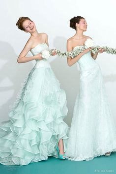 Gorgeous color wedding dresses from Atelier Aimée 2013 bridal collection. Signature gowns with beautifully flounced skirts are presented in fresh mint green