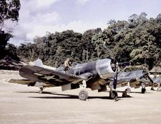 Marine Corsairs in the SW Pacific. This photo brings back some memories of the Black Sheep Squadron TV show. I know the show was not accurate in representing the squadron, but the flying sequences. Aircraft Photos, Ww2 Aircraft, Fighter Aircraft, Military Aircraft, F4u Corsair, Fighter Pilot, Fighter Jets, Luftwaffe, Black Sheep Squadron