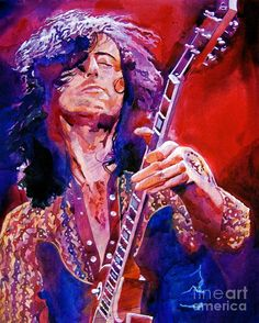 """David Lloyd Glover, """"Jimmy Page"""" - Many of Hollywood's A-list celebrities and recording stars are among his top collectors. For his many galleries, Glover has created images ranging from Impressionist landscapes to Iconic pop art images of Jazz artists and Rock stars. David Lloyd Glover has a 25-year international reputation exhibiting in major galleries in the US, Canada, Mexico, and Japan. Since 1986 he has sold over 2,000 original paintings."""