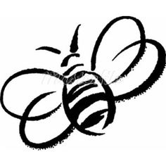 A black and white drawing of a bumblebee - Polyvore
