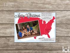 Photo Merry & Bright We've Moved Christmas Card - Colorful Modern ...