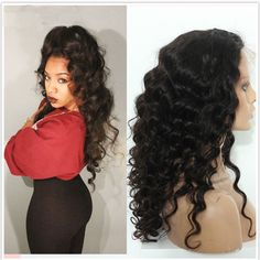 cfa59bb23b5 180% Density 360 Lace Virgin Wigs Brazilian Loose Curly Human Virgin Hair  360 Full Lace