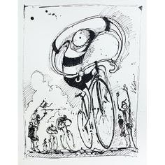 Roubaix Pen Ink Drawing for Roubaix 1896 Cycling Art Print