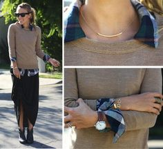 Beautiful jewelry. Damsel in Dior via Go Chic or Go Home.~  I like the plaid shirt together w/ the sweater- not sure I like the skirt & boots.