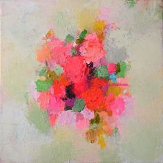 An abstracted, textured and and vibrant depiction of bunched flowers. I love intense colour and the bright reds and pinks in this painting.