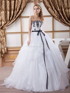 Two Tone Strapless Tiered Ball Gown with Sash and Beaded Applique