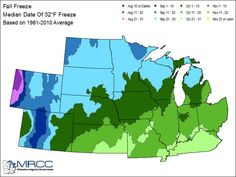 Average Dates for First Fall Freeze in Southeast Michigan