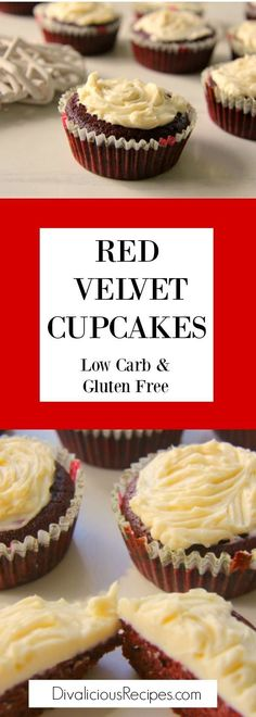 Red velvet cupcakes made with coconut flour make a delicious low carb and gluten free option.  Decorated with a cream cheese topping.