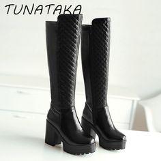 女性冬暖かい毛皮の膝高いブーツプラットフォーム厚いかかとファッションサイドジッパートールブート履物ブラックホワイト