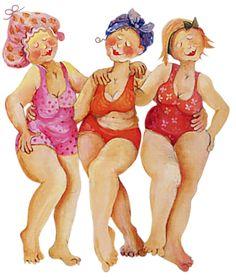 ❖---- U are so pretty young ladies Illustrations, Illustration Art, Plus Size Art, Image Digital, Old Folks, Art Impressions, Fat Women, Whimsical Art, Beach Art