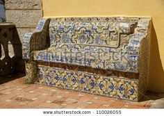 Bench Made Of Portuguese Tiles (Azulejos) In Cascais, Portugal ...