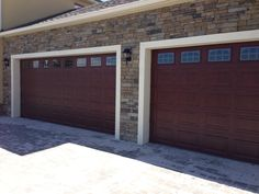 New Garage door installed by Overhead Door of America #garagedoor #maroon & Amarr Stratford series short panel garage door with sunray inserts ... Pezcame.Com