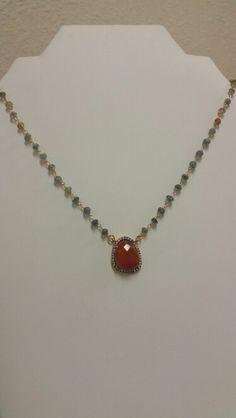 "Rhinestone rimmed carnelian pendant and hand wrapped aquamarine stones.  16"""