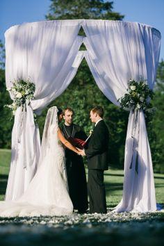 Draped Ceremony Altar | Nyk & Cali Wedding Photographers | Cedarwood Weddings | http://www.theknot.com/submit-your-wedding/photo/65752dc5-b6a0-4638-b034-5b50602c5240/Heather-and-Coreys-Cedarwood-Wedding