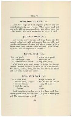 Lima Bean Soup, Irish Potato Soup, Scalloped Potato Recipes, Minced Onion, Lentil Soup, Vintage Recipes, Soups And Stews, Lentils, Carrots