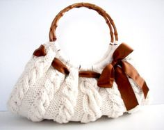Knitting handbag, Hand knit SHOULDER Bag, Handbag Everyday Knitted Cream Bag, women accessories